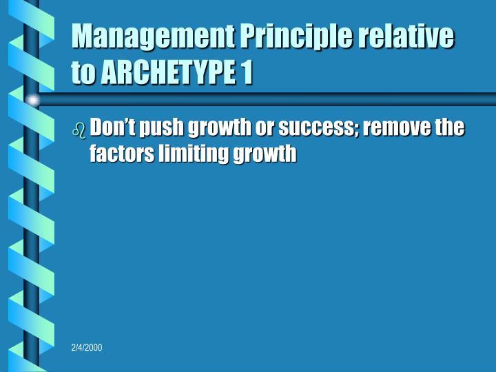 Management Principle relative to ARCHETYPE 1