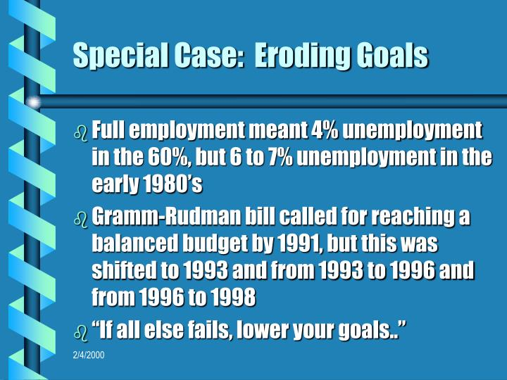Special Case:  Eroding Goals