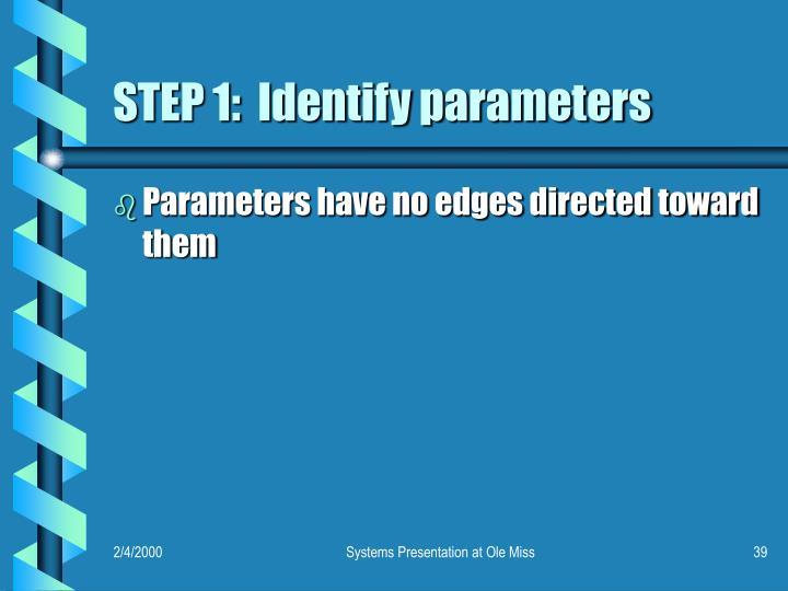 STEP 1:  Identify parameters