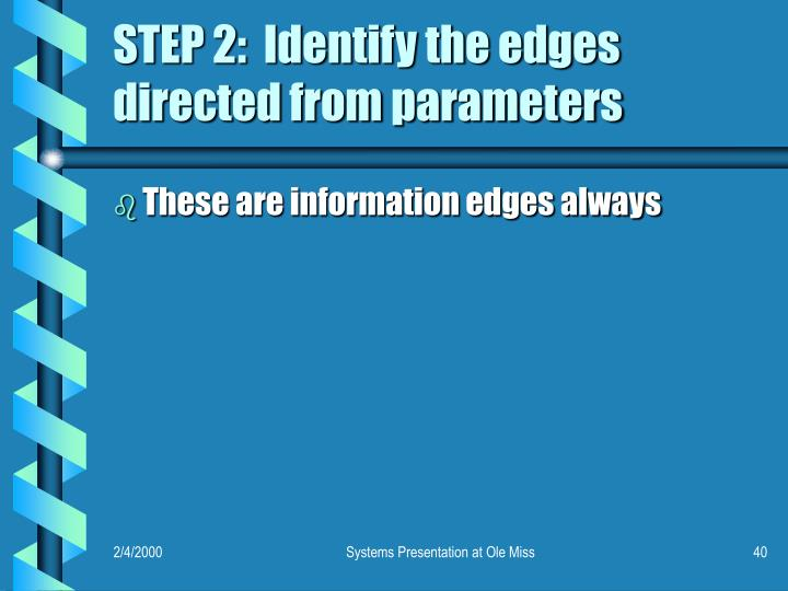 STEP 2:  Identify the edges directed from parameters
