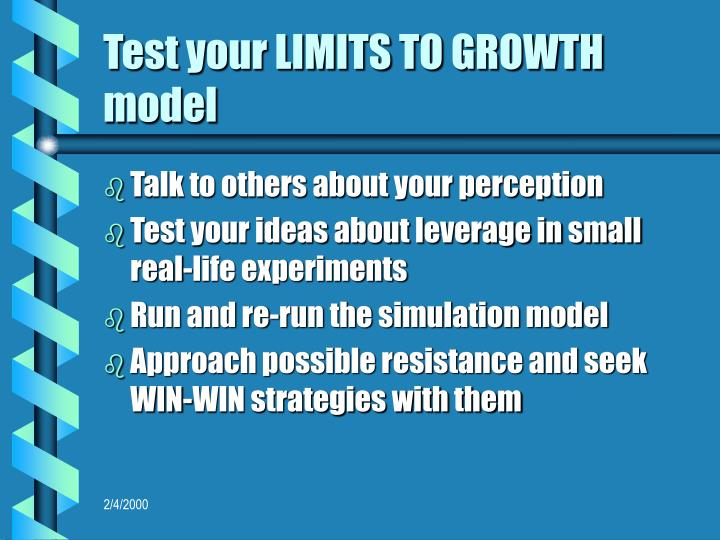 Test your LIMITS TO GROWTH model