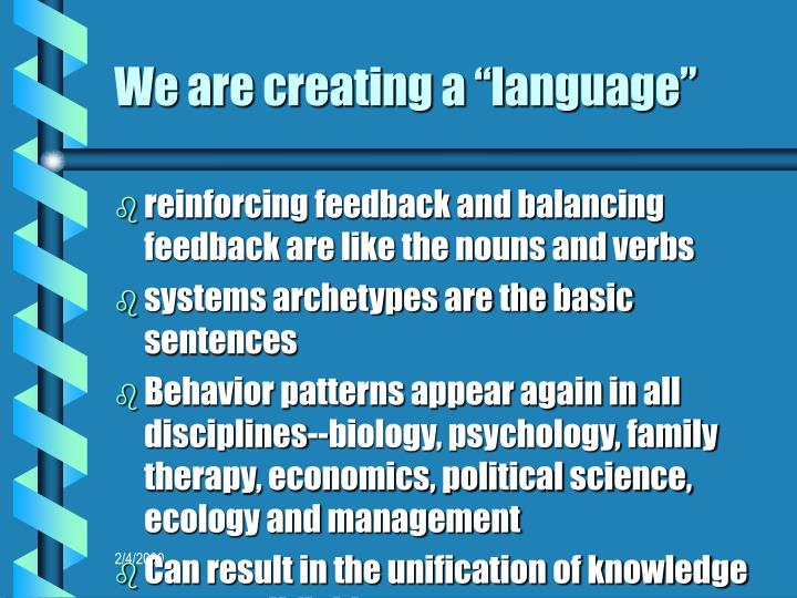 """We are creating a """"language"""""""