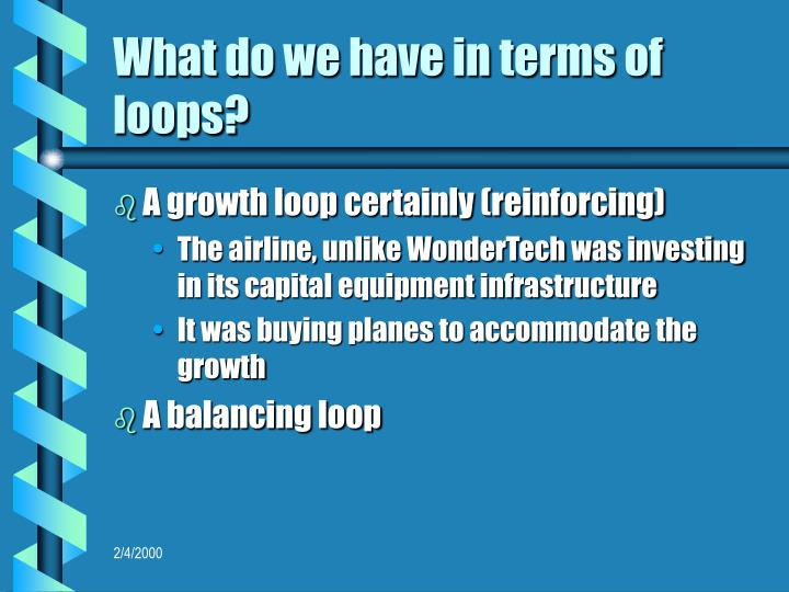 What do we have in terms of loops?