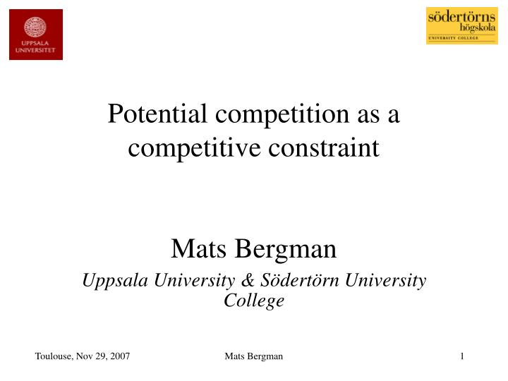 potential competition as a competitive constraint n.