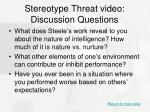 stereotype threat video discussion questions