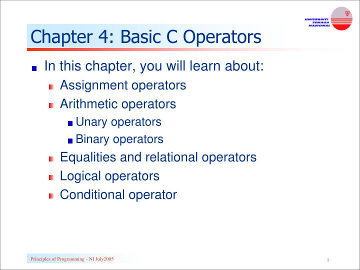 chapter 4 basic c operators n.