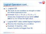 logical operators cont