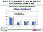 half of wic participants say they tell their baby to be quiet once a week or less