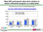most wic participants allow their children to watch a television program on a daily basis