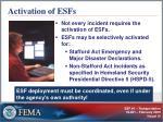 activation of esfs