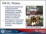 esf 1 purpose