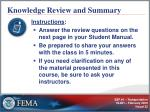 knowledge review and summary