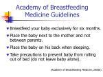 academy of breastfeeding medicine guidelines