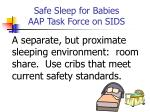 safe sleep for babies aap task force on sids70