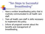 ten steps to successful breastfeeding