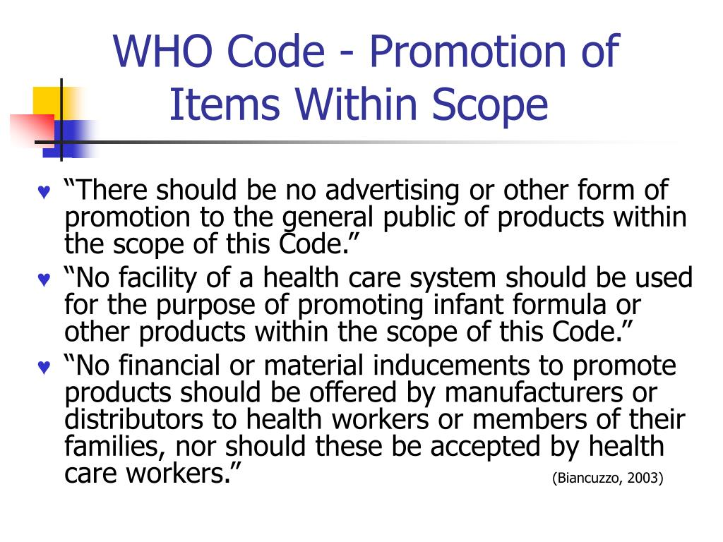 WHO Code - Promotion of Items Within Scope