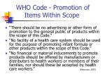 who code promotion of items within scope