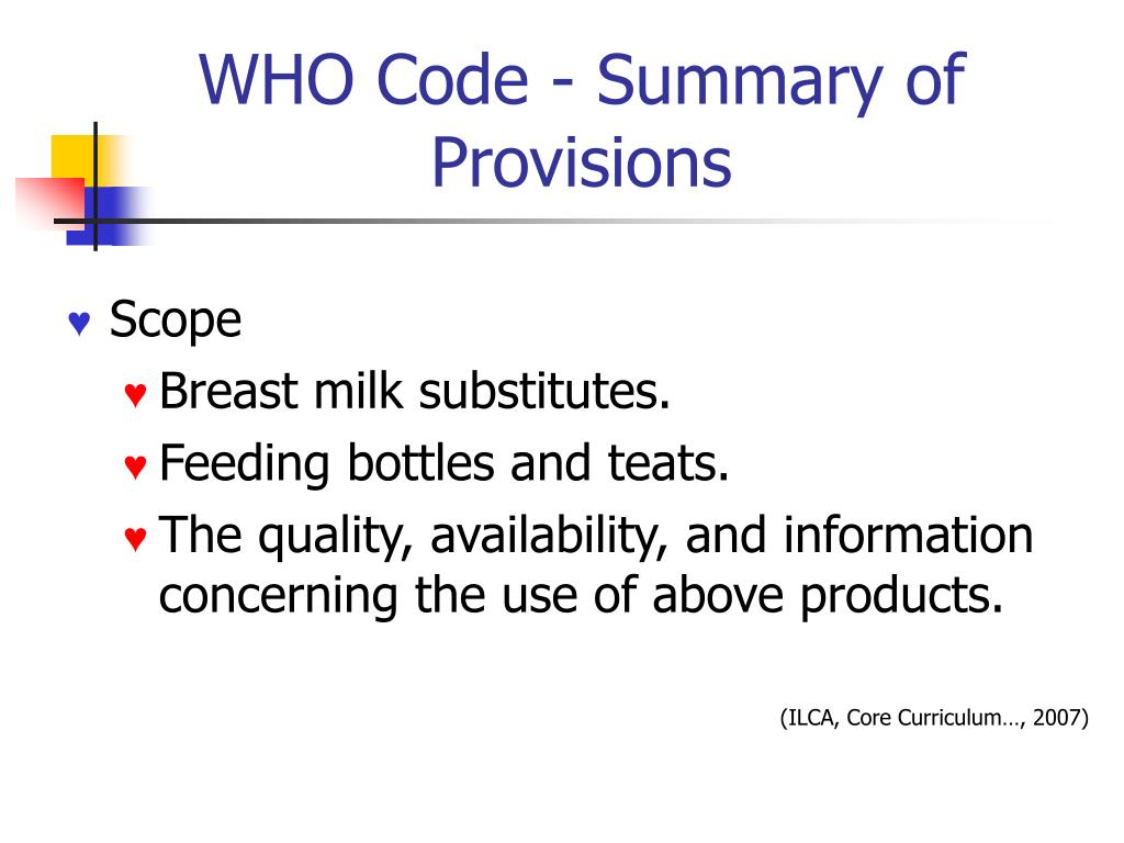 WHO Code - Summary of Provisions