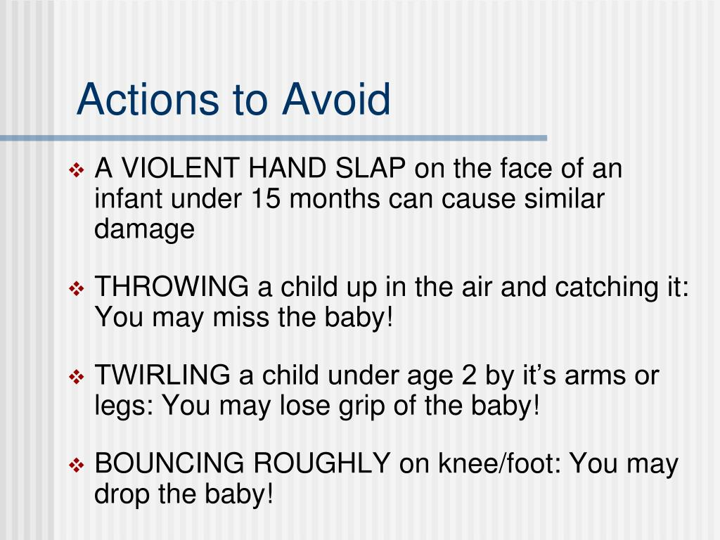 Actions to Avoid