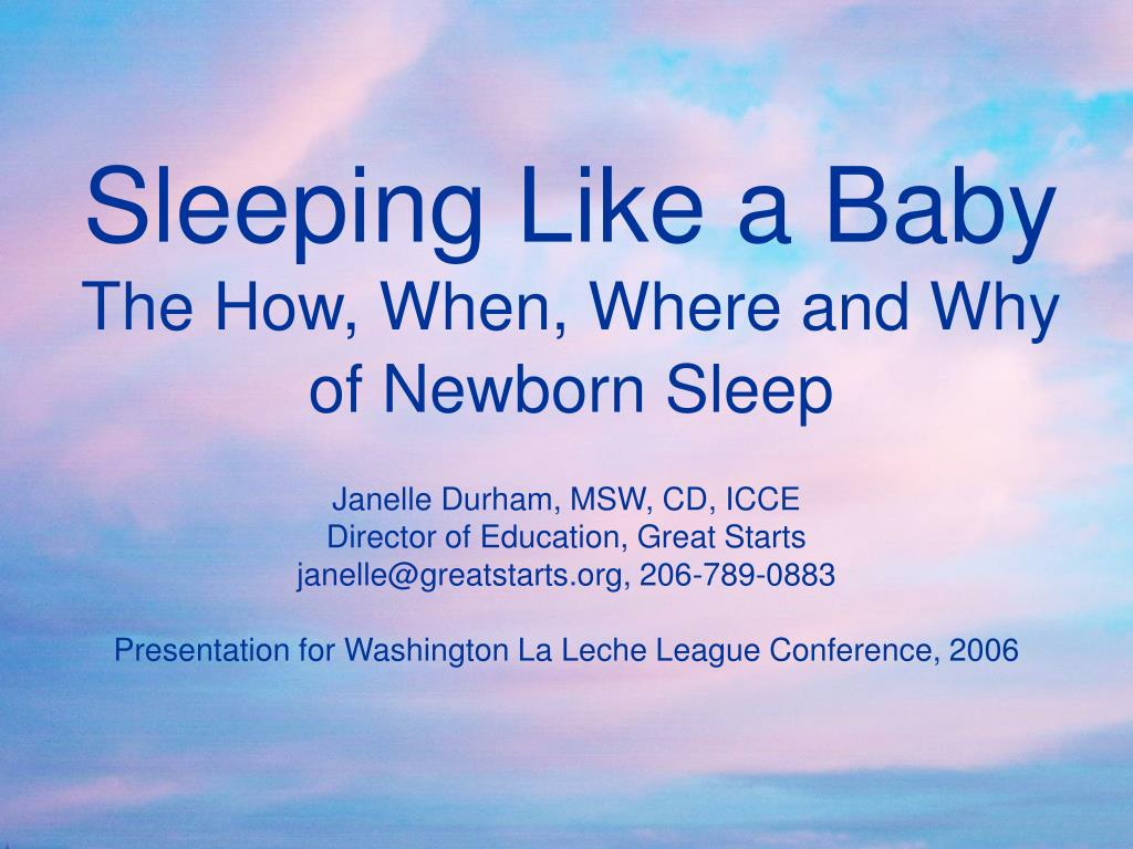 sleeping like a baby the how when where and why of newborn sleep l.