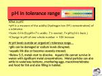 ph in tolerance range