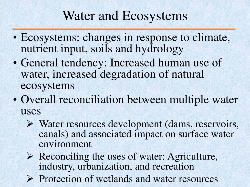 Water and Ecosystems