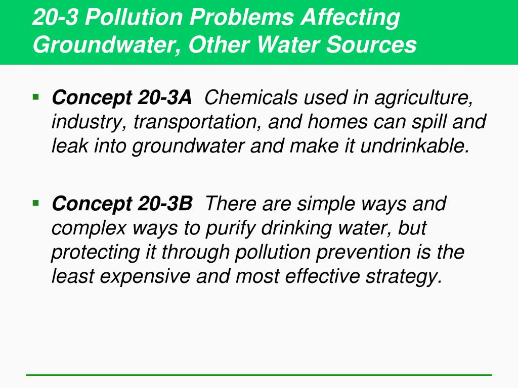 20-3 Pollution Problems Affecting Groundwater, Other Water Sources
