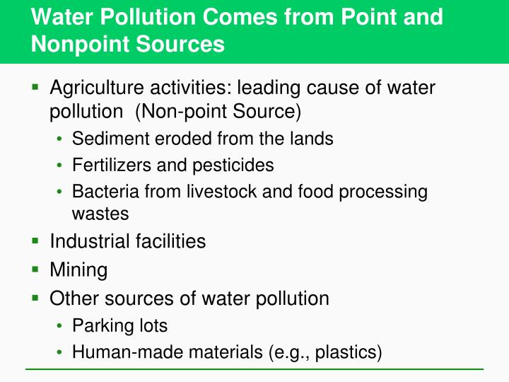 Water pollution comes from point and nonpoint sources3