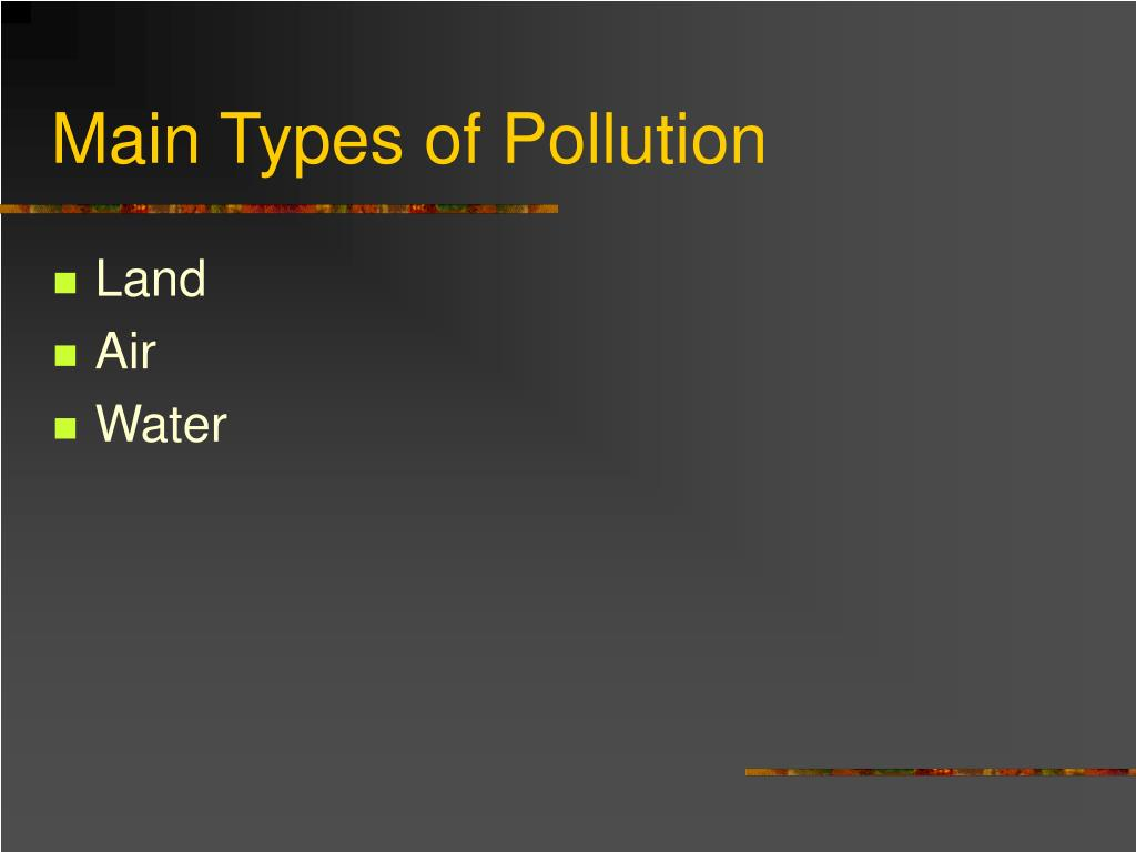 Main Types of Pollution