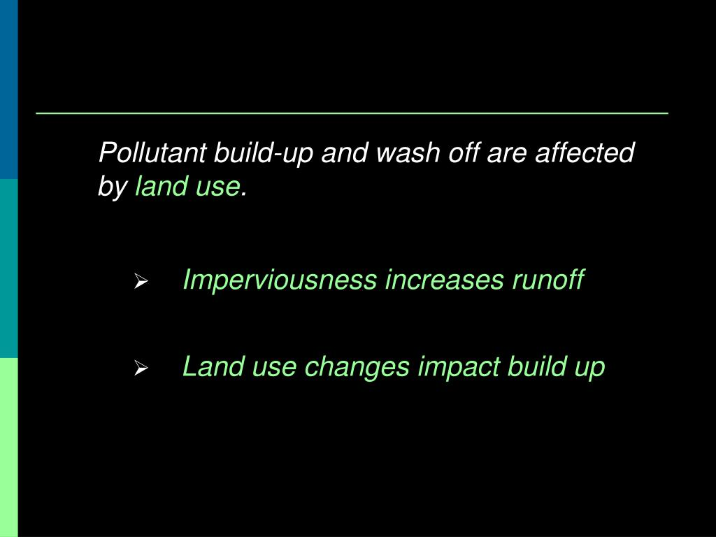 Pollutant build-up and wash off are affected by