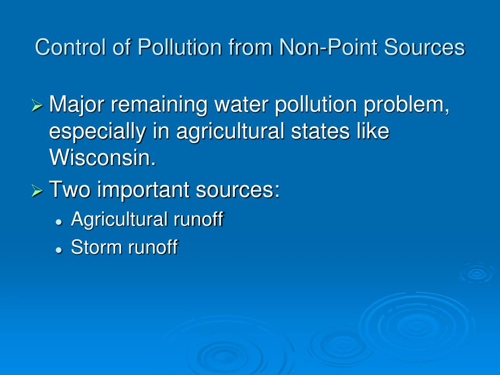 Control of Pollution from Non-Point Sources