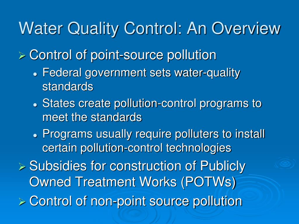 Water Quality Control: An Overview
