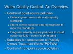 water quality control an overview
