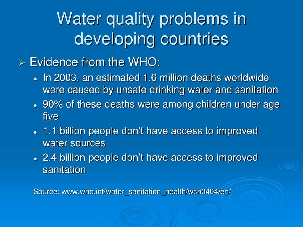 Water quality problems in developing countries