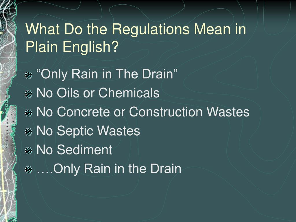 What Do the Regulations Mean in Plain English?