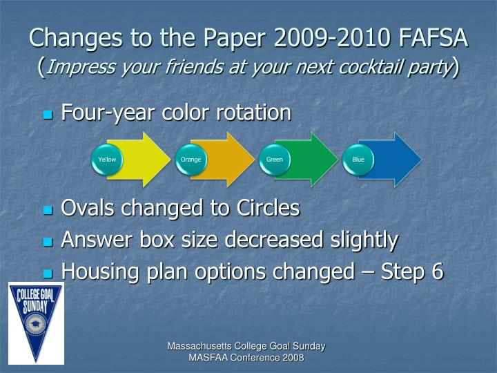 Changes to the Paper 2009-2010 FAFSA