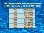 safe drinking water act and amendments codified generally as 42 u s c 300f 300j