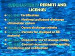 subchapter iv permits and licenses