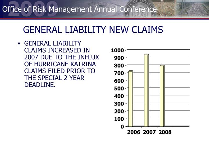 GENERAL LIABILITY NEW CLAIMS