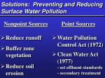 solutions preventing and reducing surface water pollution