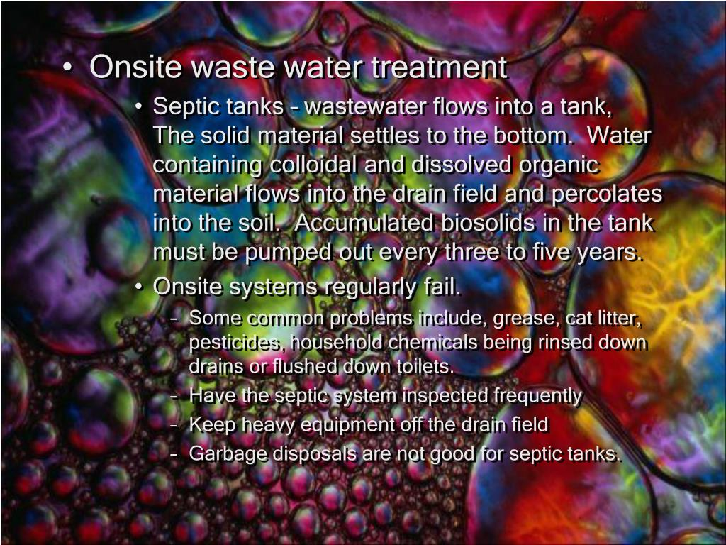Onsite waste water treatment