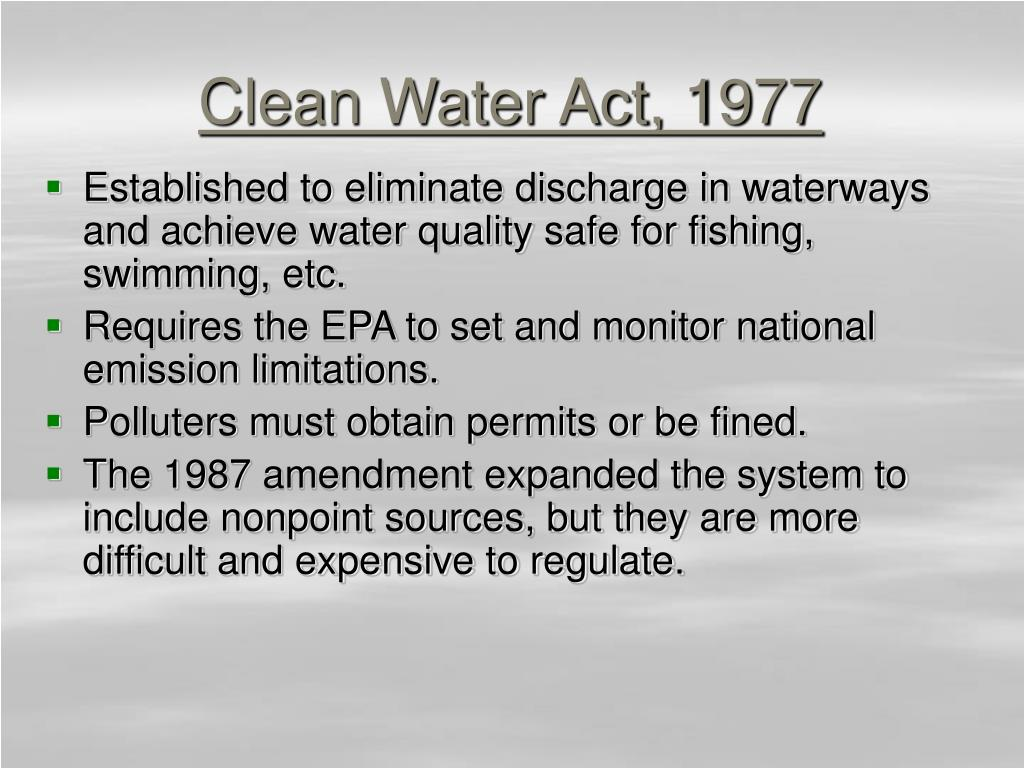Clean Water Act, 1977