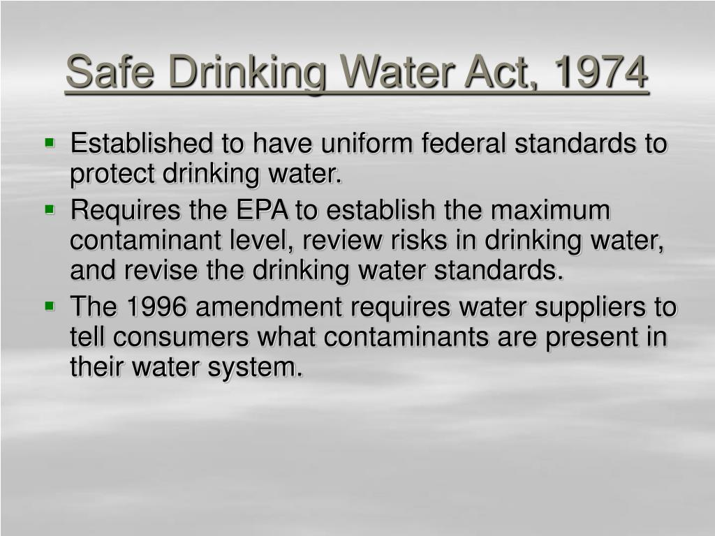 Safe Drinking Water Act, 1974