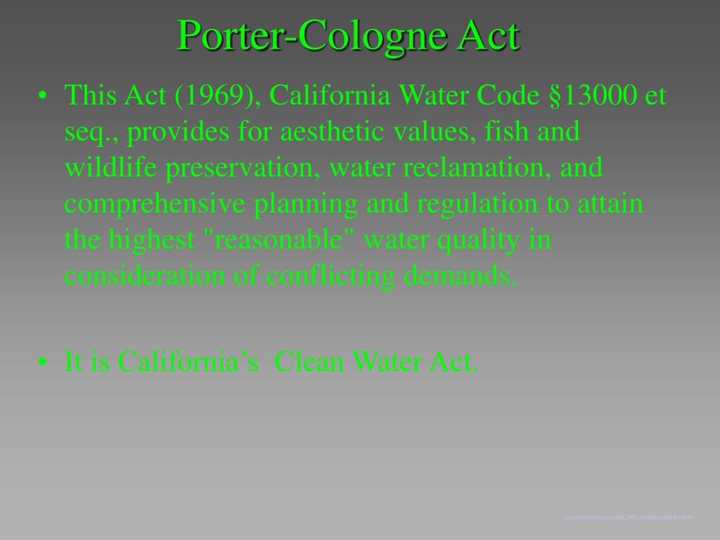 Porter-Cologne Act