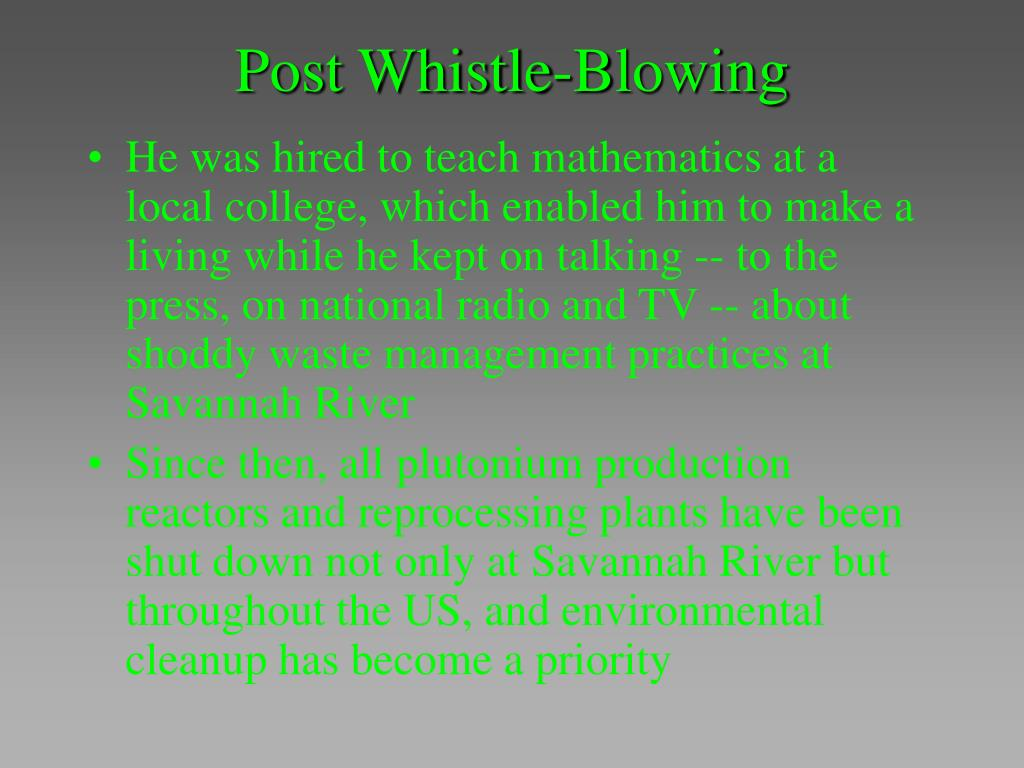 Post Whistle-Blowing