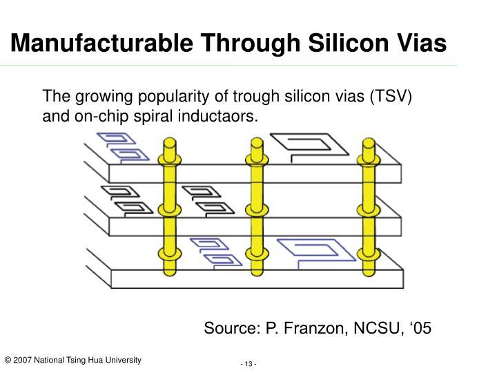 Manufacturable Through Silicon Vias