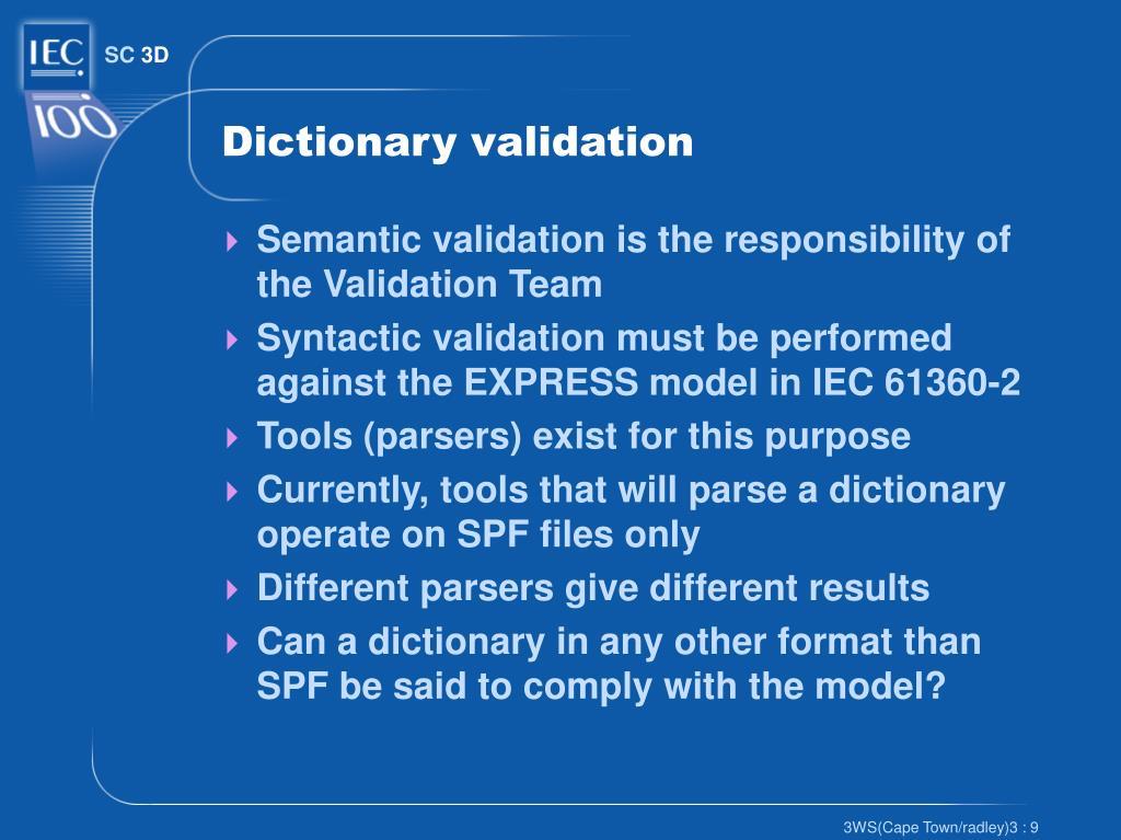 Dictionary validation