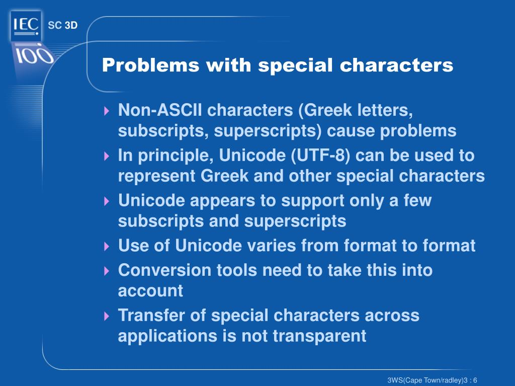 Problems with special characters