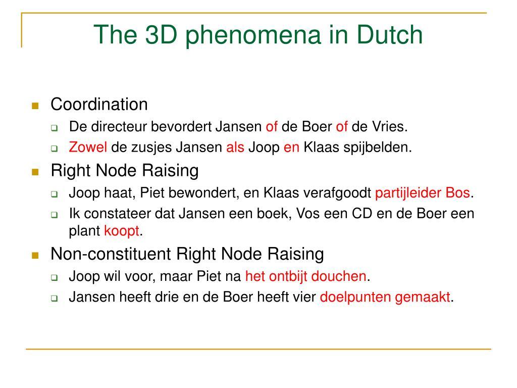 The 3D phenomena in Dutch