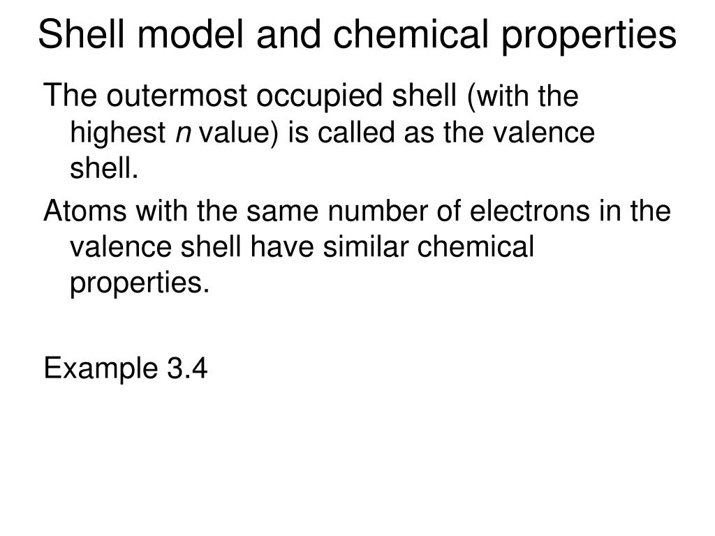 Shell model and chemical properties